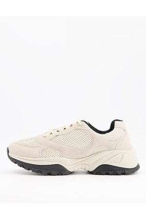 ASOS Multi panel trainers in stone mix