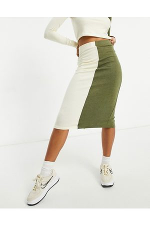 Unique 21 Knitted two tone midi skirt in ecru and khaki
