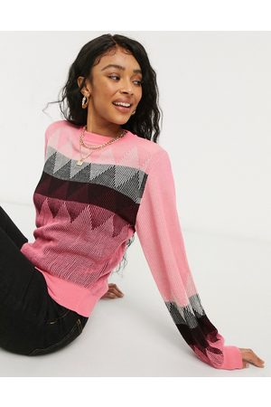 ASOS Crew neck jumper with argyle pattern in pink
