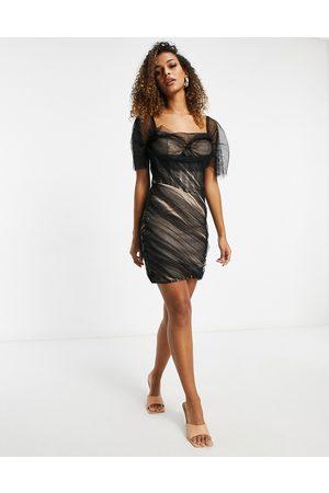 Missguided Bardot mini dress in black mesh