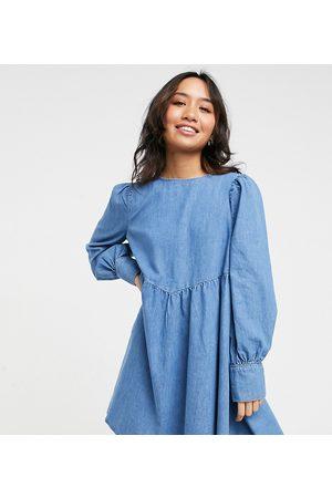 ASOS ASOS DESIGN Petite soft denim puff sleeve smock dress in midwash