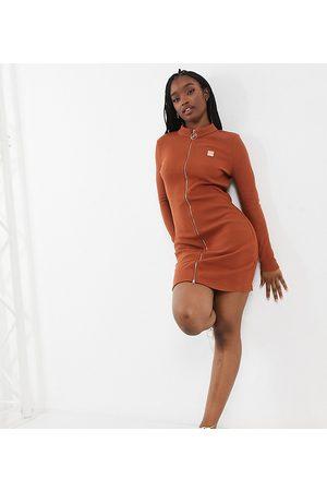 Fila Zip bodycon mini dress in brown