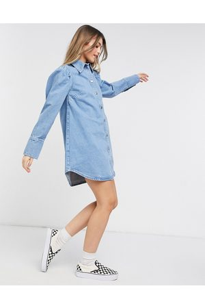 ASOS Denim puff sleeve denim shirt dress in midwash