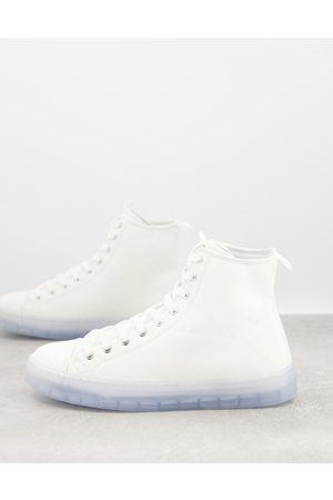 ASOS Lace up plimsolls in white with blue transparent sole