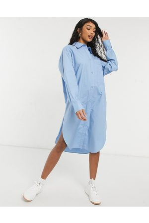 Monki Carol cotton poplin midi shirt dress in blue