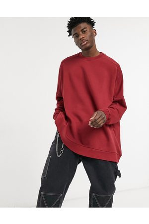ASOS Extreme oversized sweatshirt in burgundy