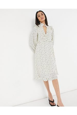 Lost Ink Midi tea dress with ruffle trims in scattered spot