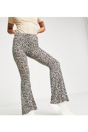 Missguided Jersey kickflare trouser in leopard