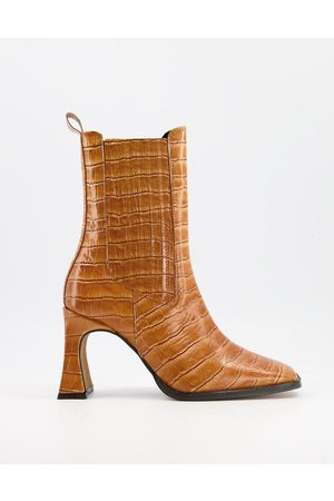 ASOS Radius premium leather high heeled boots in tan croc