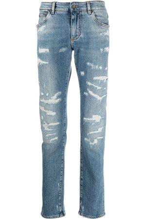 Dolce & Gabbana Hombre Rectos - Jeans rectos con detalles rasgados