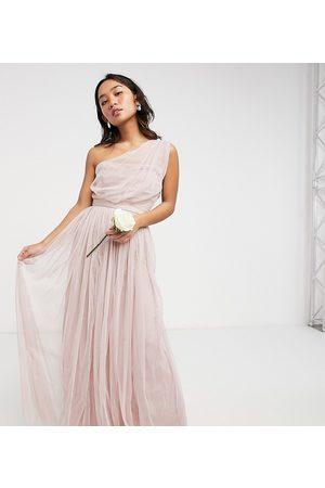 ANAYA Mujer Vestidos de noche - Anaya With Love Petite Bridesmaid tulle one shoulder maxi dress in pink