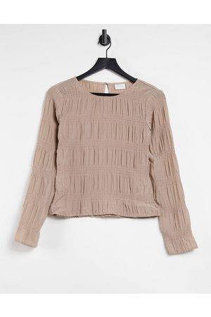 Vila Long sleeve top with gathered detail in