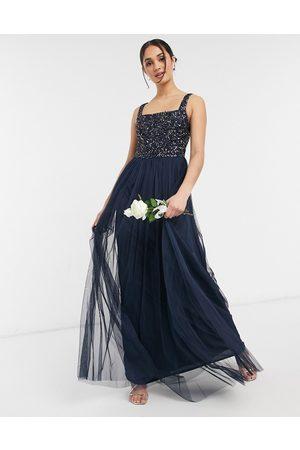 Maya Mujer Vestidos de noche - Bridesmaid sleeveless square neck maxi tulle dress with tonal delicate sequin overlay in navy