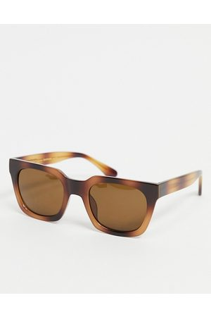 A. Kjærbede Clay unisex slim square sunglasses in brown tort