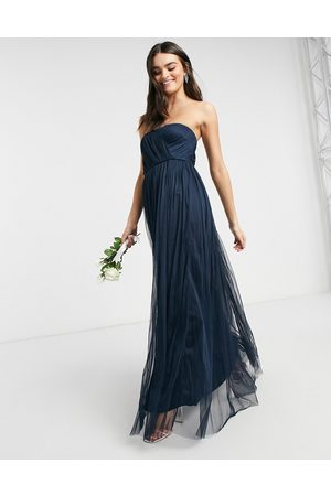 ANAYA With Love Bridesmaid tulle bandeau maxi dress in navy