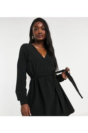 Vero Moda Belted mini dress with v neck in black
