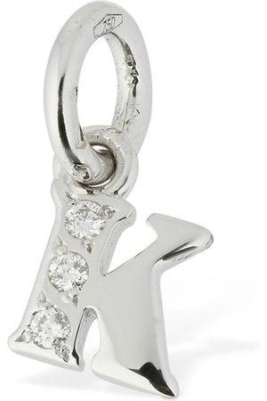 """Dodo Mujer Collares - Colgante """"k"""" De Oro Blanco 18kt Y Diamantes"""
