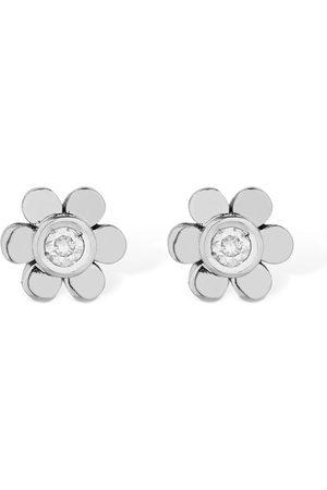 VANZI Pendientes Flores De Oro 18kt Y Diamantes