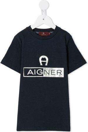 Aigner Playera con logo metalizado