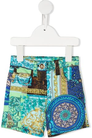 VERSACE Mixed print shorts