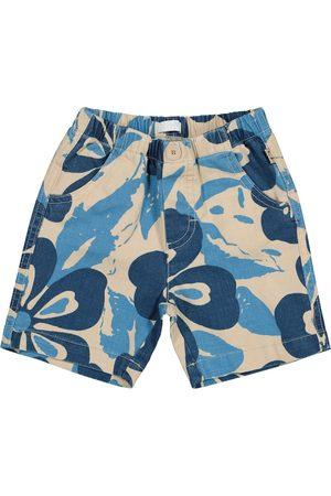 Il gufo Baby floral cotton and linen Bermuda shorts