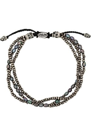 M. COHEN Pulsera de tres capas en plata de ley con perlas