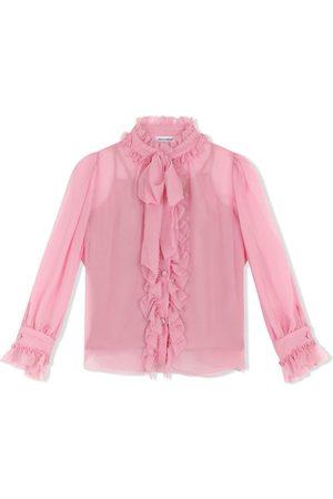 Dolce & Gabbana Camisa de seda con lazo en el cuello