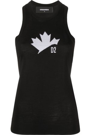 Dsquared2 Maple leaf motif knitted tank top