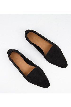 ASOS Wide Fit Miley suede loafers in black