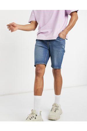 ASOS Skinny denim shorts in vintage dark wash blue