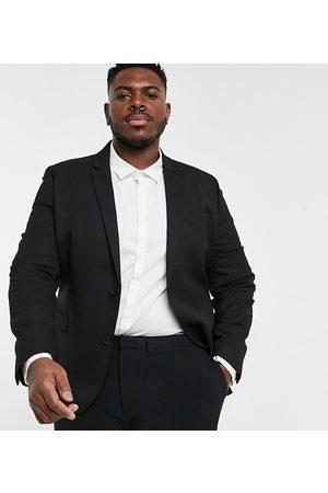 ASOS Plus wedding super skinny suit jacket in black micro texture