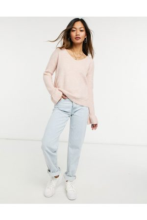 Vero Moda Jumper with v neck and ruffle sleeve edge in pink