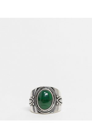 Reclaimed Inspired ring with stone in silver