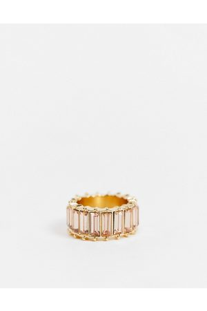 ASOS Ring with pink baguette stones in gold tone