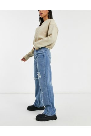 Urban Bliss High waisted wide leg ripped jean in light wash