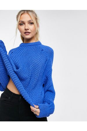 ASOS Crew neck jumper with stitch detail in blue