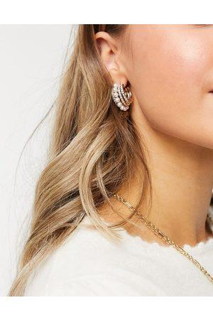 ASOS Hoop earrings with pearl row in gold tone