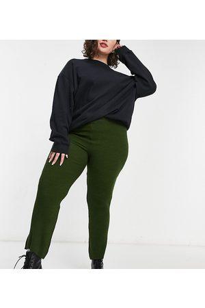 Fashionkilla Plus Knitted wide leg trouser in khaki