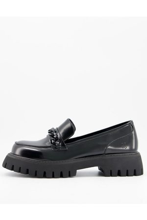 Koi Footwear Vegan chunky loafers with chain detail in black