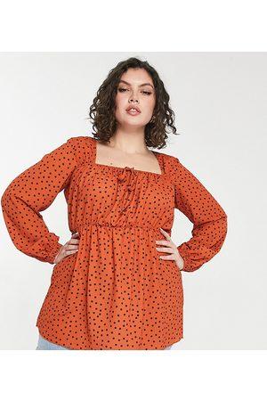 Yours Milkmaid blouse in orange polka dot