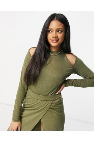Unique 21 Knitted cut out long sleeve top in burnt khaki