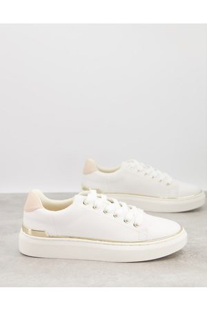 London Rebel Lace up metal trim trainers in white