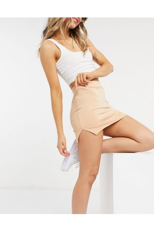 Unique 21 Knitted mini skirt with splits in blush