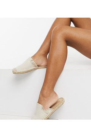 ASOS Wide Fit Josie espadrille mules in natural