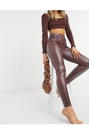 ASOS Leather look legging with pintuck in brown