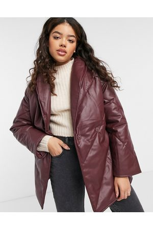 Monki Hilma faux leather padded jacket with belt in dark red