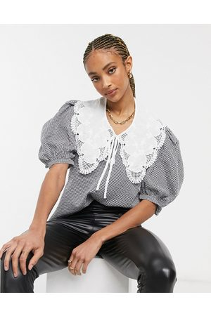 Object Blouse with oversized collar and puff sleeves in gingham check