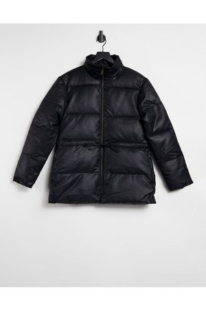 Selected Femme croc tie waist puffer jacket in black