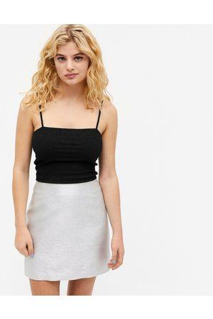Monki Mujer Minifaldas - Lucy glitter mini skirt in silver