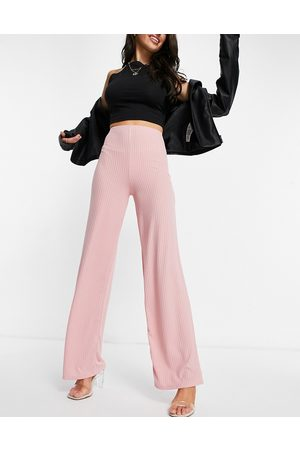 Flounce London Basic high waisted rib wide leg trousers in blush